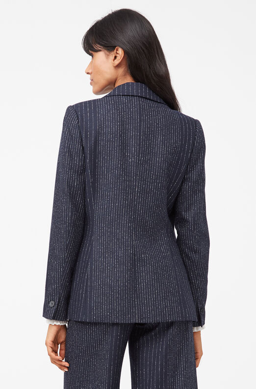 Tailored Mixed Pinstripe Suiting Blazer, Navy, large