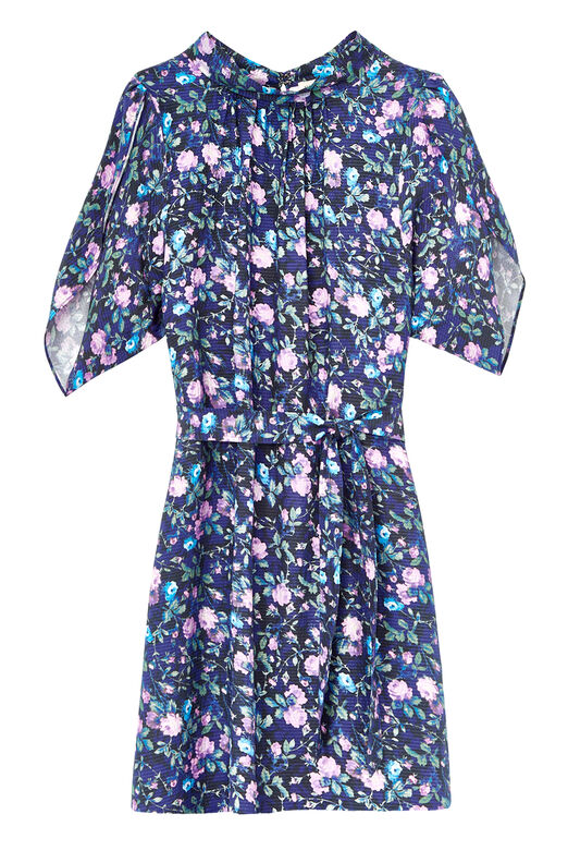 Ruby Floral Petal Sleeve Silk Dress