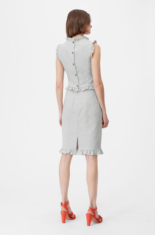 Tailored Stretch Linen Blend Pencil Skirt