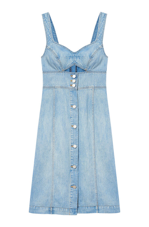 La Vie Drapey Denim Cut-Out Dress