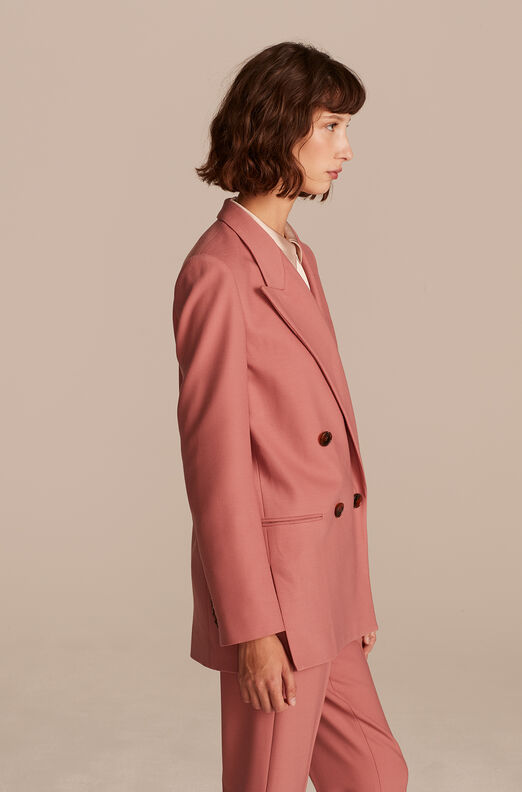 Double Breasted Gabardine Jacket, Rose, large