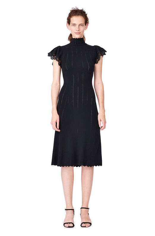 Pointelle Knit & Lace Dress - Black