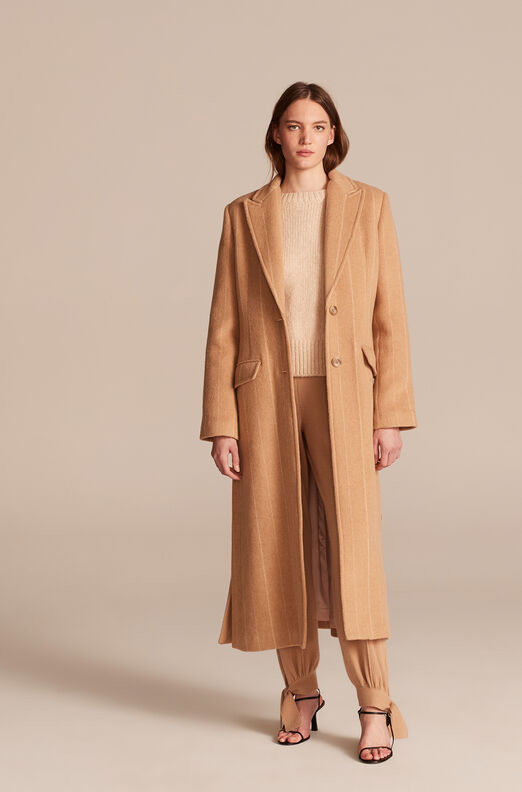 Pinstripe Tailored Coat, Camel, large