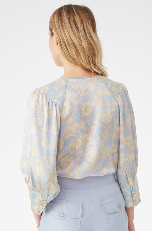 Satin Leaf Fleur Silk Top, Sky Combo, large