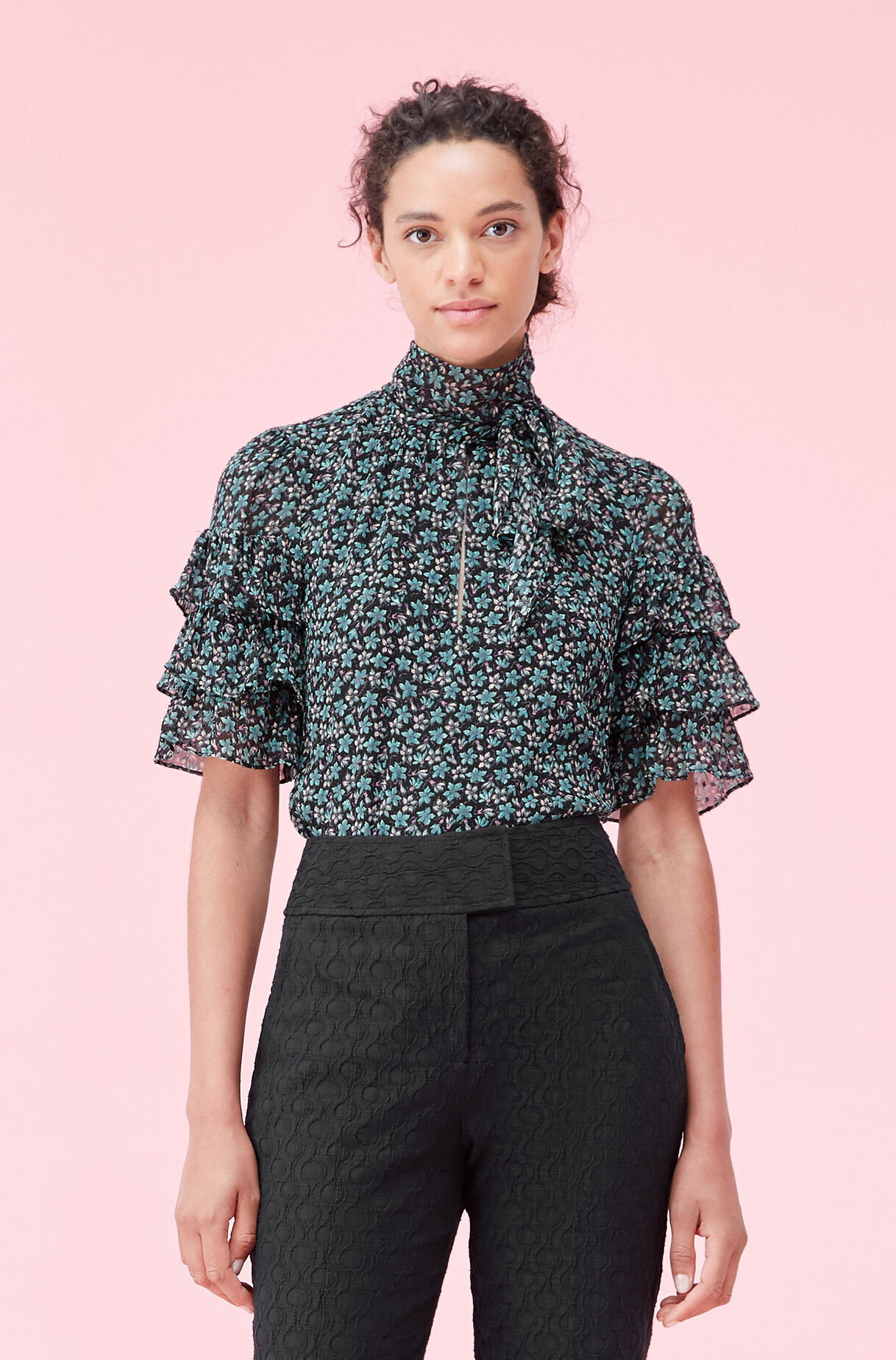 Louisa Floral Ruffle Clip Top, , large