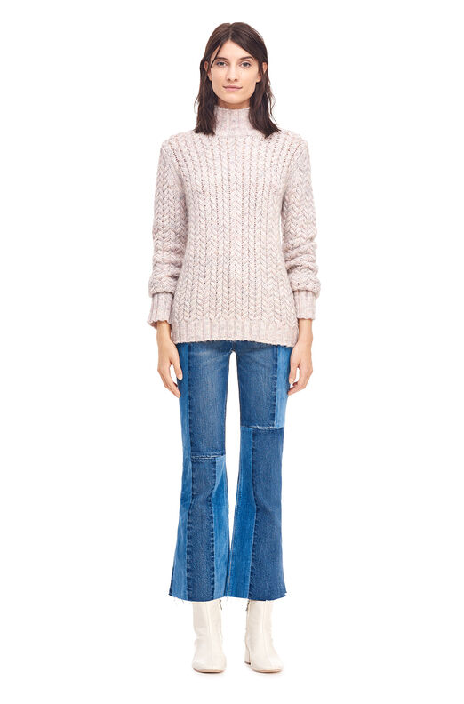 La Vie Marled Cable Turtleneck Pullover - Champagne Pink Combo