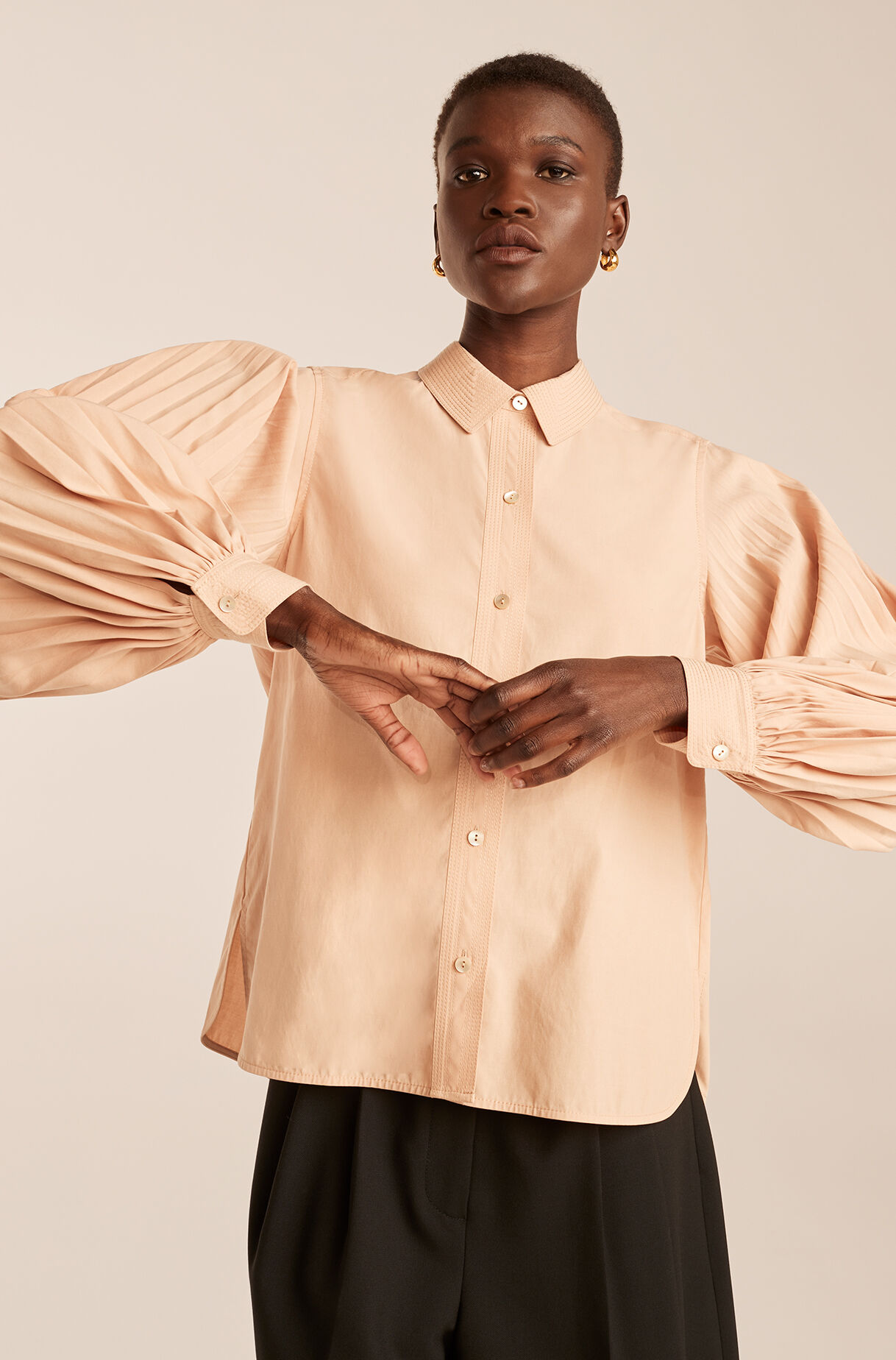 Pleated Long Sleeve Button Down, Apricot, large