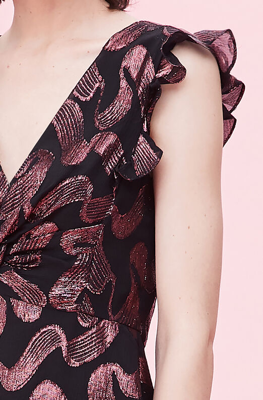 Ribbon Lurex Jacquard Twist Top