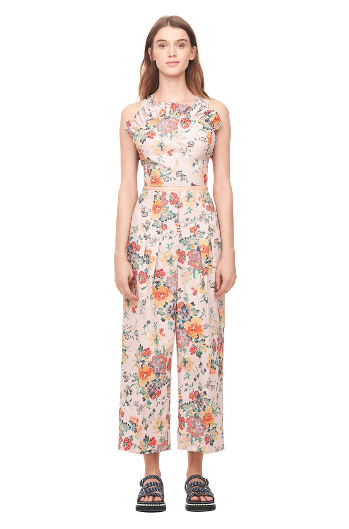 Marlena Floral Linen Pant- Dusty Rose Combo