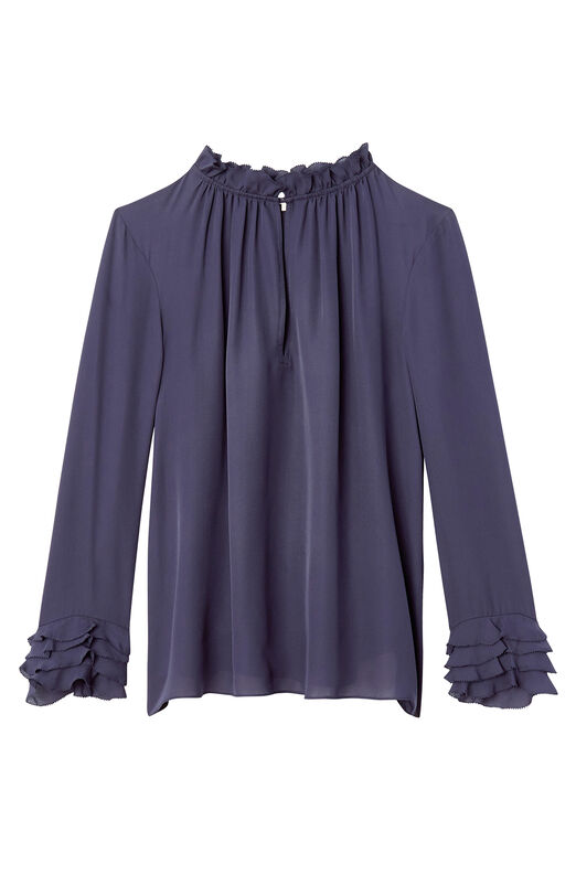 Silk Double Georgette Ruffle Top