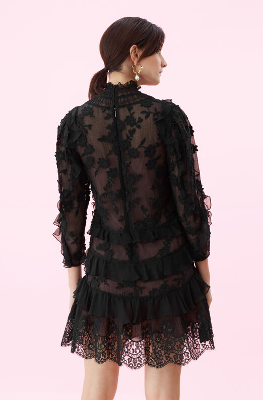 Silk & Embroidered Ruffle Dress