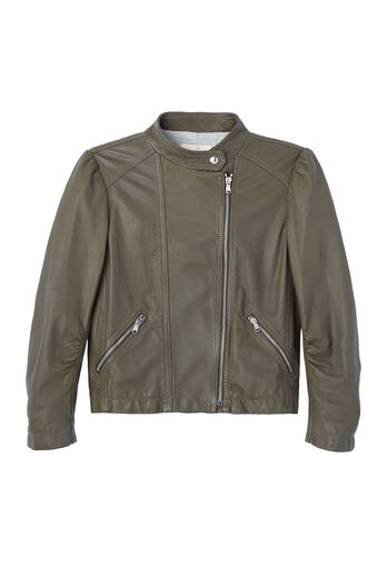 Garment Washed Leather Moto Jacket