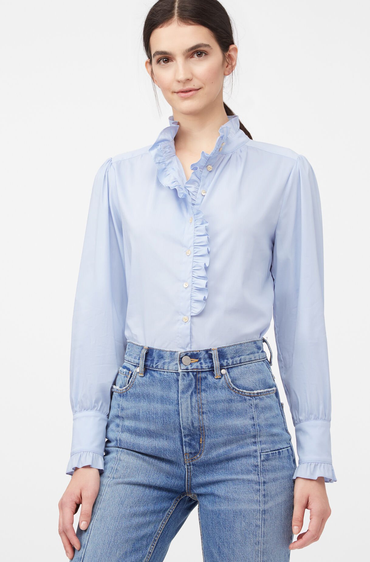 La Chemise Poplin Ruffle Top, Oxford Blue, large