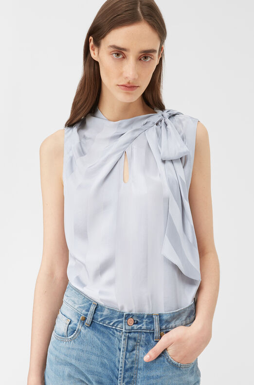 La Chemise Stripe Jacquard Tie Neck Top