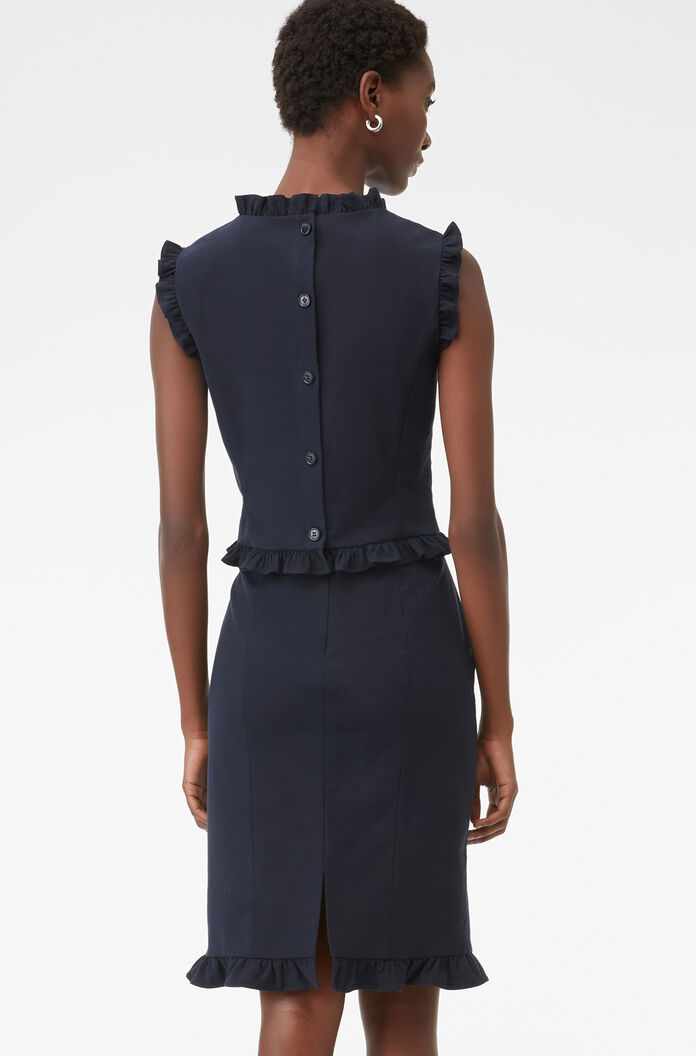 Tailored Ruffle Suiting Skirt, Navy, large