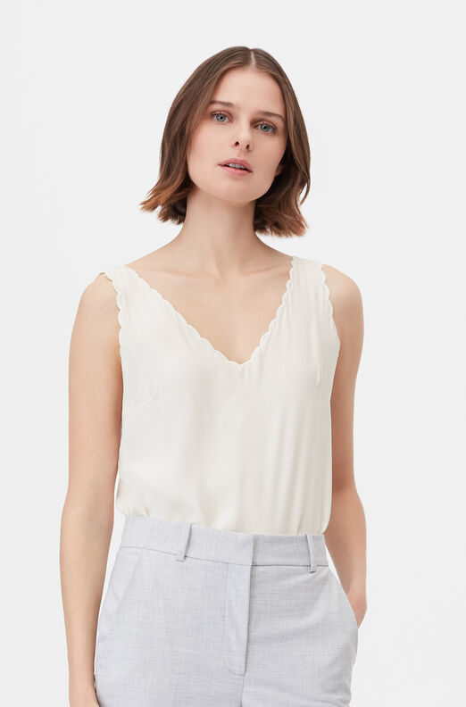 Tailored Silk Charmeuse Scalloped Tank, Snow, large