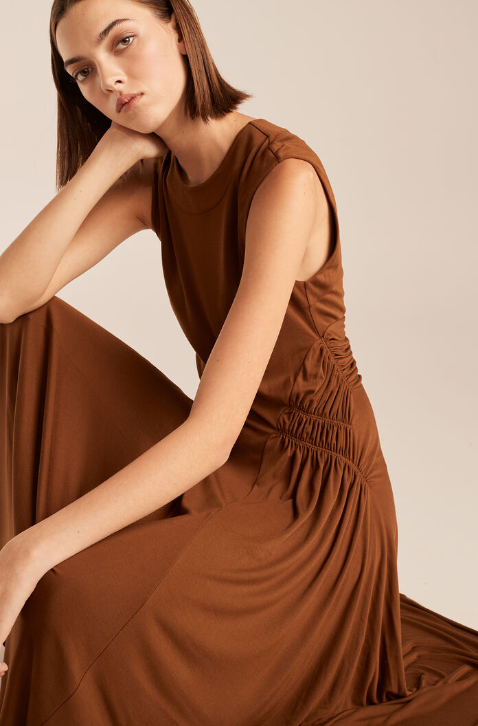 Sleeveless Ruched Dress-Cocoa