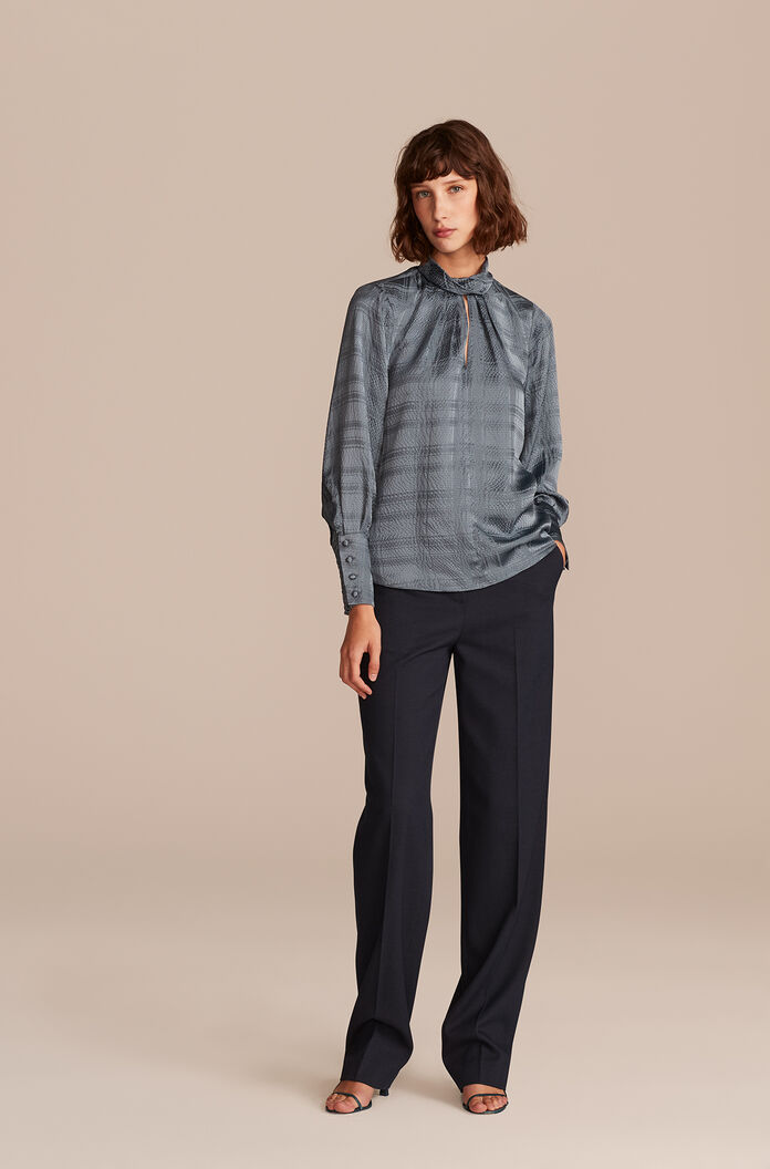 Hammered Plaid Silk Top, Storm, large