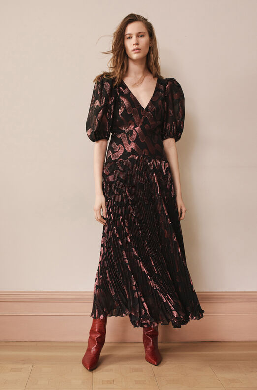 Ribbon Lurex Jacquard Pleated Dress