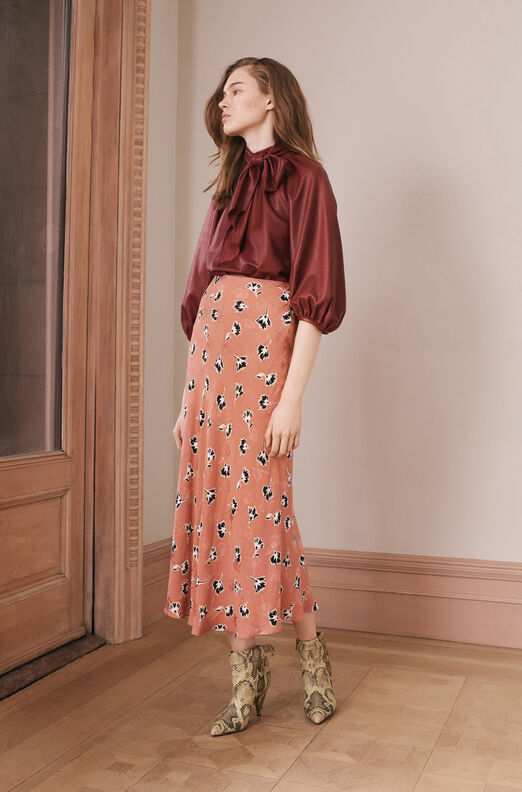 Ikat Paintbrush Silk Jacquard Skirt