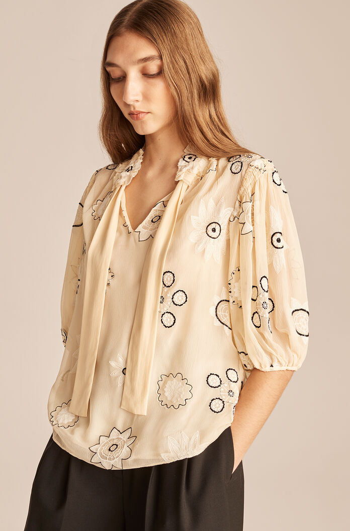 Parasol Embroidered Bow Blouse-Shell