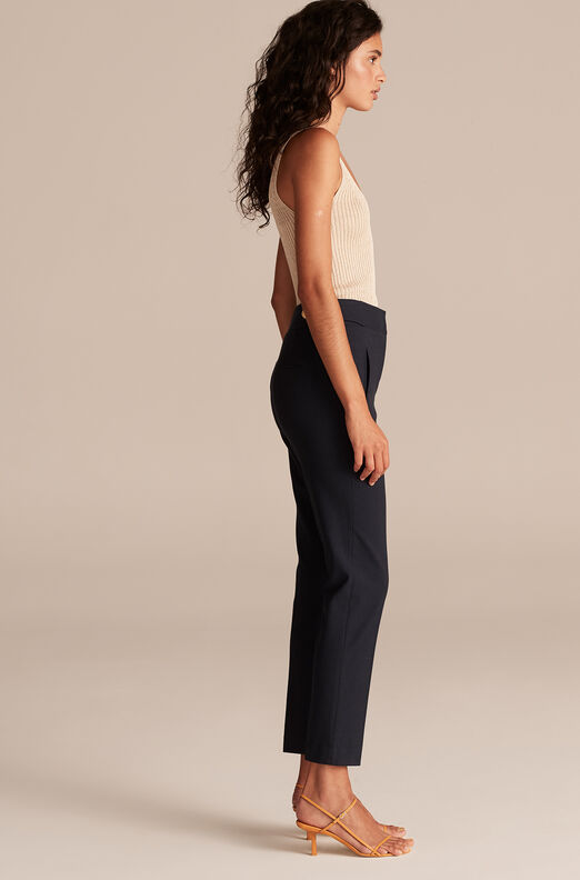 Tailored Basketweave Suiting Pant, Navy, large