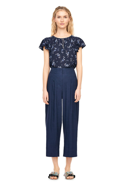 Francine Floral Silk Top - Navy Combo