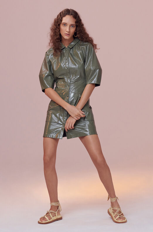 Vegan Patent Leather Dress