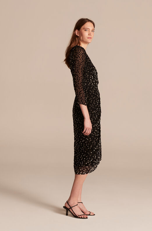 Velvet Dot Dress, Black Combo, large