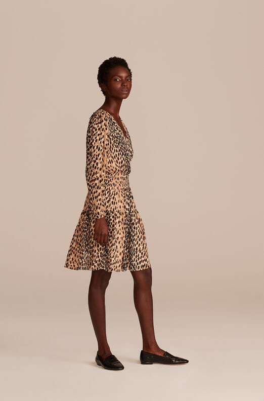 Pebbled Leopard Smock Waist Dress, Golden Combo, large