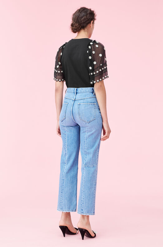 Dot Embroidered Jersey Top