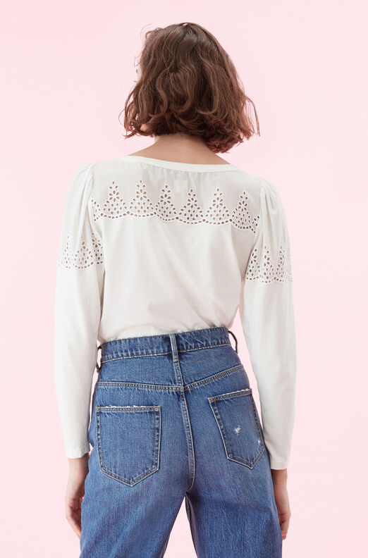 La Vie Embroidered Jersey Top