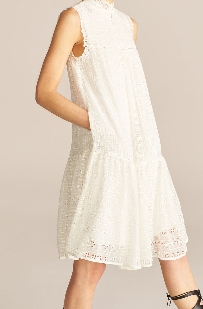 Sleeveless Geo Embroidered Dress, Snow, large