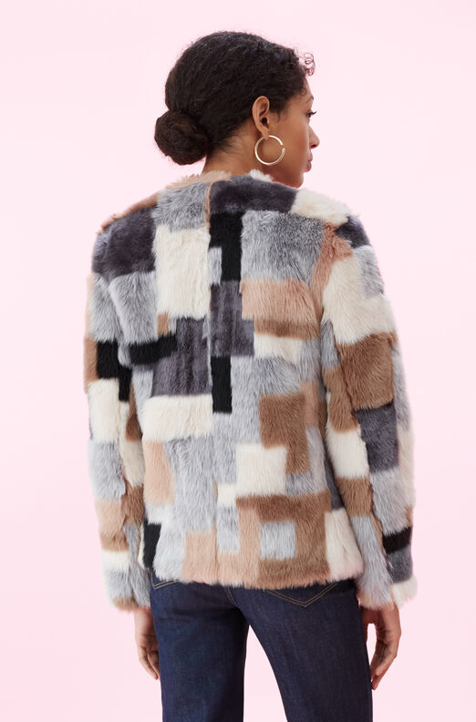 La Vie Patchwork Faux Fur Coat
