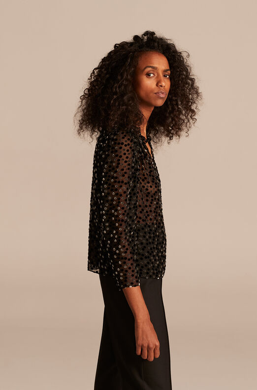 Velvet Dot Top, Black Combo, large