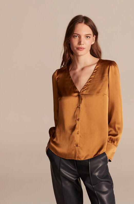 Silk Charmeuse V-Neck Top, Gold, large