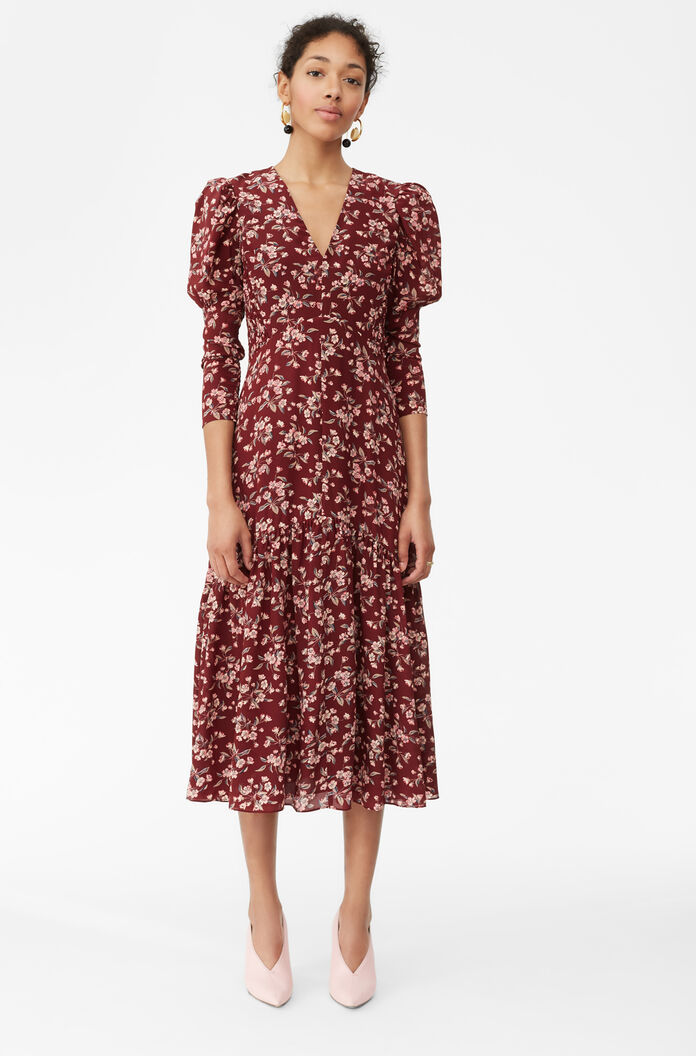 Tilda Floral Silk V-Neck Dress