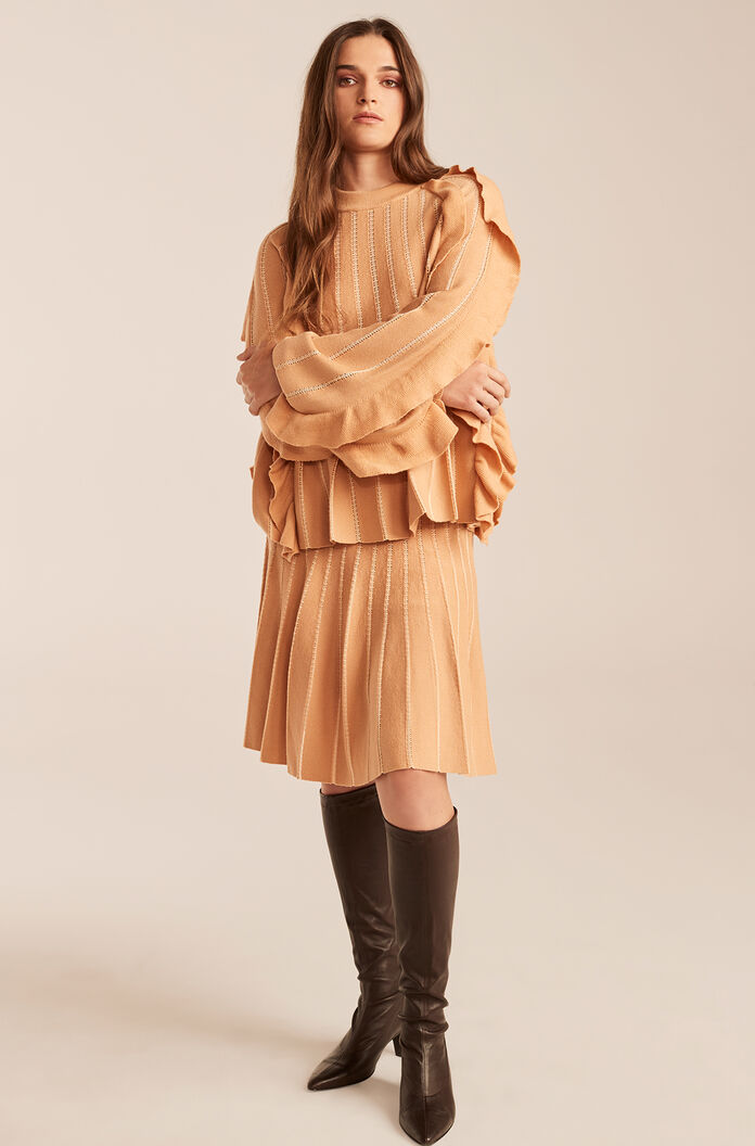 Pleated Stitched Sweater With Ruffles, Sunkiss, large
