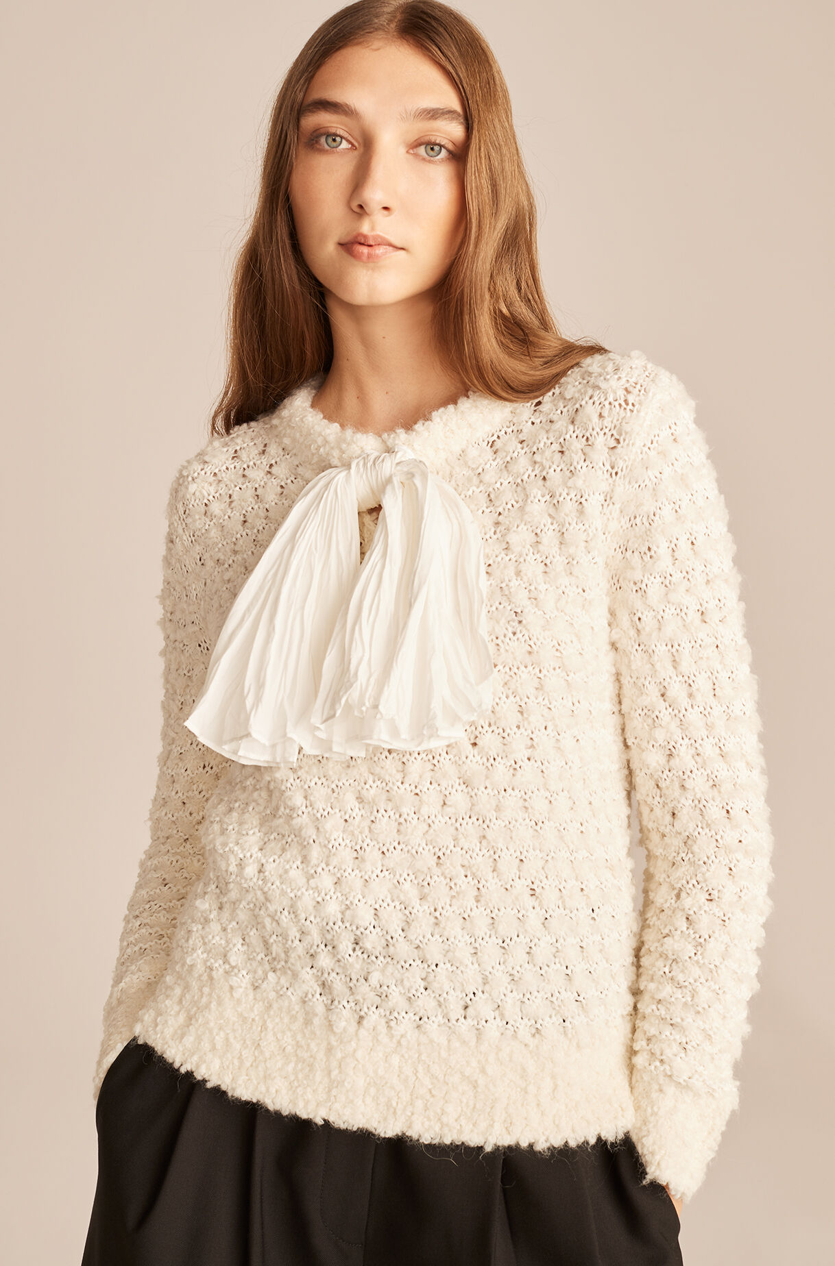 Alpaca Sweater With Removable Bow-Ivory