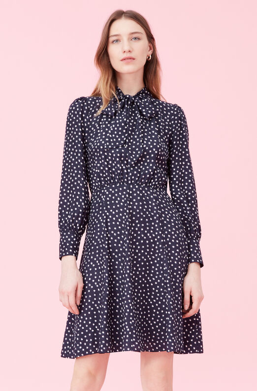 Blurry Heart Silk Jacquard Dress