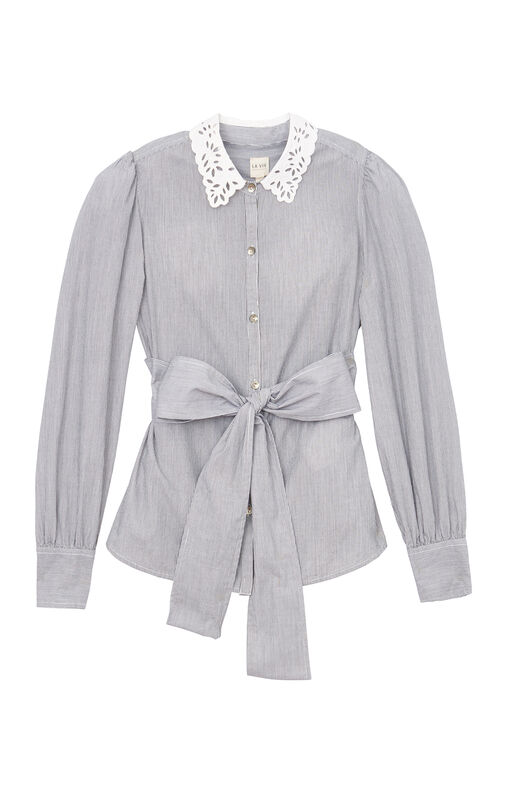 La Vie Striped Shirt With Eyelet Collar