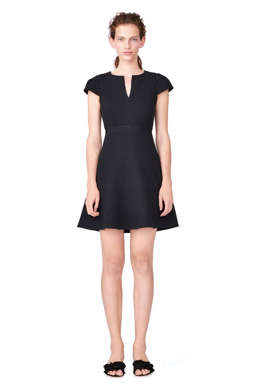Cap Sleeve Stretch Texture Dress - Black