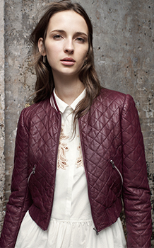 QUILTED LEATHER JACKET & MEDALLION POPLIN DRESS