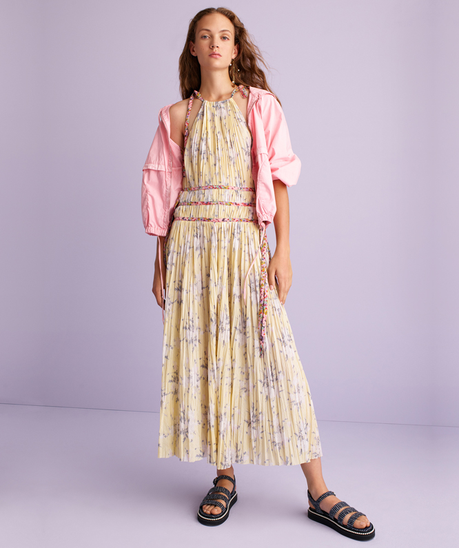 LEMON ROSE PLEATED DRESS + LA VIE PARACHUTE JACKET