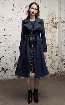 TRENCH WITH LEATHER TRIM & PRINT MIX DRESS
