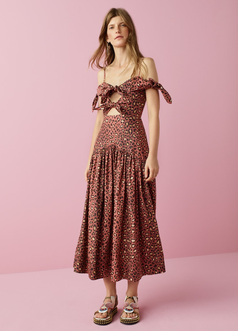 Off-The-Shoulder Spring Leopard Bow Dress