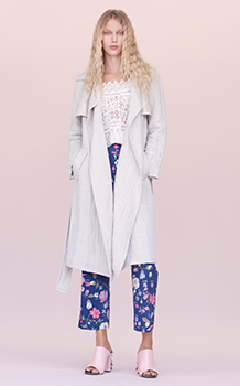 LONG SLEEVE CROCHET LACE TOP & GAUZE TRENCH COAT