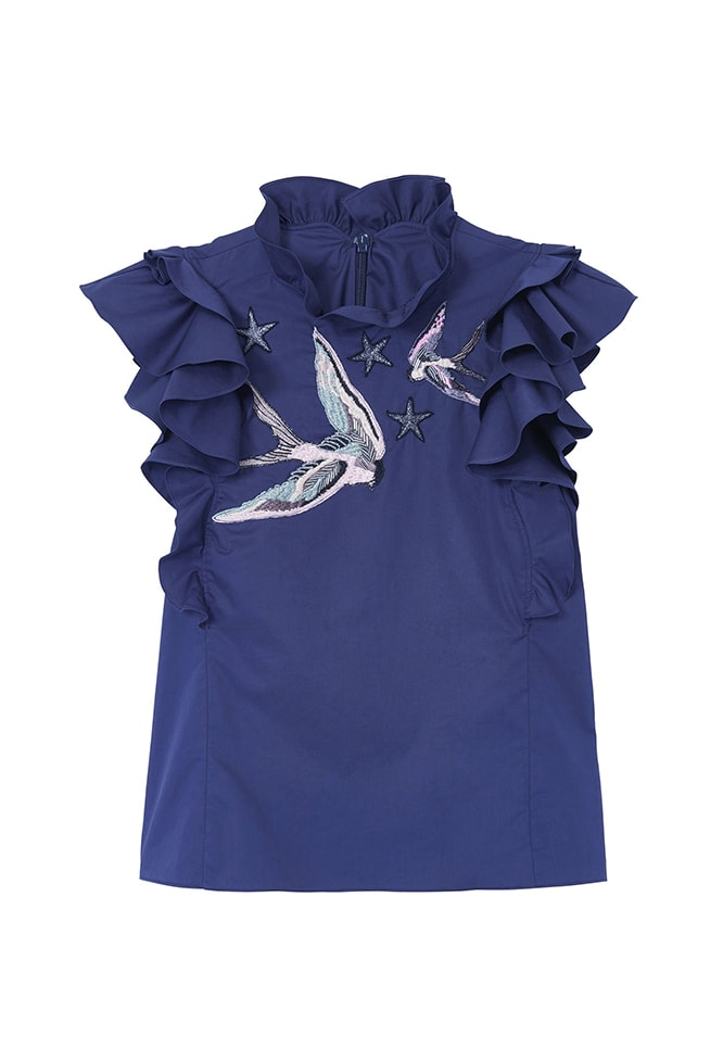 Stretch Sateen Bird Embellished Top