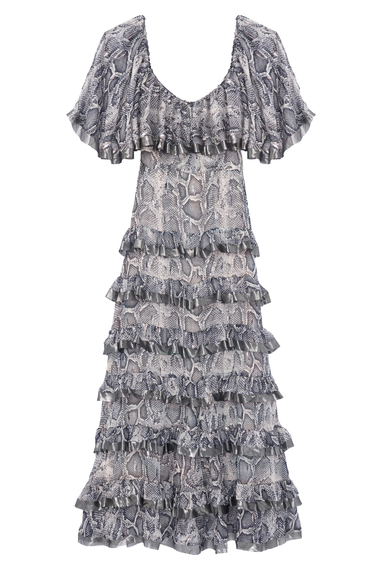 Snake Print Tiered Dress