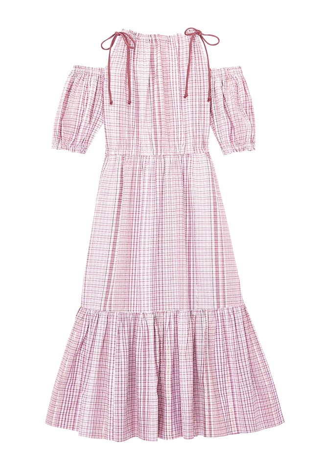 La Vie Lurex Plaid Open Shoulder Dress